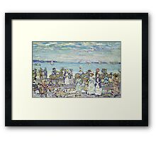 Maurice Brazil Prendergast - Opal Sea. Beach landscape: sea view, yachts, holiday, sailing boat, coast seaside with people, waves and beach, marine, sun and clouds, nautical panorama, coastal travel Framed Print