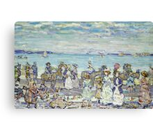 Maurice Brazil Prendergast - Opal Sea. Beach landscape: sea view, yachts, holiday, sailing boat, coast seaside with people, waves and beach, marine, sun and clouds, nautical panorama, coastal travel Canvas Print