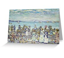 Maurice Brazil Prendergast - Opal Sea. Beach landscape: sea view, yachts, holiday, sailing boat, coast seaside with people, waves and beach, marine, sun and clouds, nautical panorama, coastal travel Greeting Card