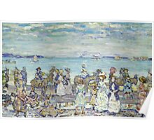 Maurice Brazil Prendergast - Opal Sea. Beach landscape: sea view, yachts, holiday, sailing boat, coast seaside with people, waves and beach, marine, sun and clouds, nautical panorama, coastal travel Poster