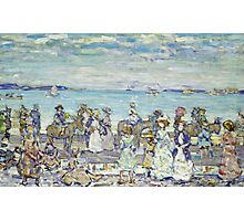 Maurice Brazil Prendergast - Opal Sea. Beach landscape: sea view, yachts, holiday, sailing boat, coast seaside with people, waves and beach, marine, sun and clouds, nautical panorama, coastal travel Photographic Print