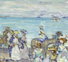 Maurice Brazil Prendergast - Opal Sea. Beach landscape: sea view, yachts, holiday, sailing boat, coast seaside with people, waves and beach, marine, sun and clouds, nautical panorama, coastal travel Sticker