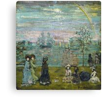 Maurice Brazil Prendergast - Promenade With Parasols. Beach landscape: sea view, yachts, holiday, Promenade , coast seaside, waves and beach, marine, sun clouds, nautical panorama, coastal travel Canvas Print