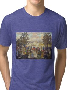 Maurice Brazil Prendergast - Salem Willows. Beach landscape: sea view, yachts, holiday, sailing boat, coast seaside, waves and beach, marine seascape, sun and clouds, nautical panorama, coastal travel Tri-blend T-Shirt
