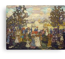 Maurice Brazil Prendergast - Salem Willows. Beach landscape: sea view, yachts, holiday, sailing boat, coast seaside, waves and beach, marine seascape, sun and clouds, nautical panorama, coastal travel Canvas Print