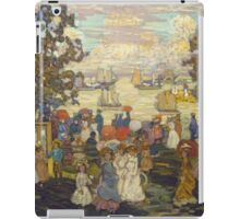 Maurice Brazil Prendergast - Salem Willows. Beach landscape: sea view, yachts, holiday, sailing boat, coast seaside, waves and beach, marine seascape, sun and clouds, nautical panorama, coastal travel iPad Case/Skin