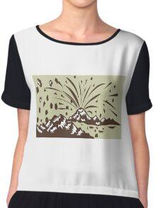 Volcano Eruption Island Woodcut Chiffon Top