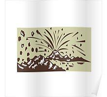 Volcano Eruption Island Woodcut Poster