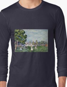 Maurice Brazil Prendergast - Summer Day, New England. Garden landscape: garden view, trees and flowers, blossom, nature, botanical park,  Day, wonderful flowers, Summer, cute plant, garden, England Long Sleeve T-Shirt