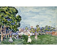 Maurice Brazil Prendergast - Summer Day, New England. Garden landscape: garden view, trees and flowers, blossom, nature, botanical park,  Day, wonderful flowers, Summer, cute plant, garden, England Photographic Print
