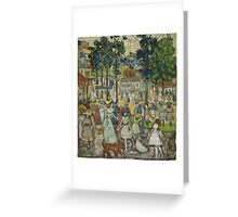 Maurice Brazil Prendergast - The Amusement Park. People portrait: party, woman and man, people, family, female and male, peasants, crowd, romance, women and men, city, home society Greeting Card