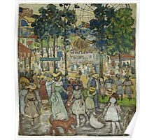 Maurice Brazil Prendergast - The Amusement Park. People portrait: party, woman and man, people, family, female and male, peasants, crowd, romance, women and men, city, home society Poster