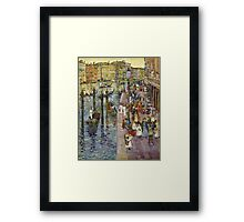 Maurice Brazil Prendergast - The Grand Canal, Venice. Urban landscape: city view, streets,  Venice, house, trees, cityscape, architecture, construction, travel landmarks, panorama garden, buildings Framed Print