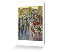 Maurice Brazil Prendergast - The Grand Canal, Venice. Urban landscape: city view, streets,  Venice, house, trees, cityscape, architecture, construction, travel landmarks, panorama garden, buildings Greeting Card