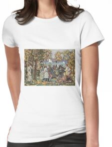 Maurice Brazil Prendergast - Waterside Park Scene. Garden landscape: trees and flowers, blossom, nature view, botanical park, floral flora, wonderful flowers, plants, cute plant, garden, flower Womens Fitted T-Shirt