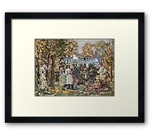Maurice Brazil Prendergast - Waterside Park Scene. Garden landscape: trees and flowers, blossom, nature view, botanical park, floral flora, wonderful flowers, plants, cute plant, garden, flower Framed Print