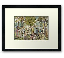 Maurice Brazil Prendergast - Holidays. Picnic painting: picnic time, man and woman, holiday, people, family, travel, garden, outdoor meal, eating food, nautical panorama, picnic Framed Print