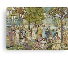 Maurice Brazil Prendergast - Holidays. Picnic painting: picnic time, man and woman, holiday, people, family, travel, garden, outdoor meal, eating food, nautical panorama, picnic Canvas Print