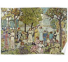 Maurice Brazil Prendergast - Holidays. Picnic painting: picnic time, man and woman, holiday, people, family, travel, garden, outdoor meal, eating food, nautical panorama, picnic Poster