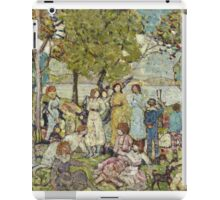 Maurice Brazil Prendergast - Holidays. Picnic painting: picnic time, man and woman, holiday, people, family, travel, garden, outdoor meal, eating food, nautical panorama, picnic iPad Case/Skin