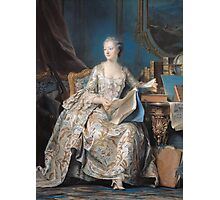 Maurice-Quentin De La Tour - Jeanne Poisson The Marquise De Pompadour. Woman portrait: sensual woman, book,  brocade, costume, courtier, beautiful dress,  lady, madame, love, marquise de pompadour Photographic Print