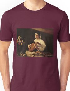 Michelangelo Merisi Da Caravaggio - The Lute Player. Man portrait: Young man, curly head, young, secular,  lute, player, musician,  music,  violin, sexy men, Roses  Unisex T-Shirt