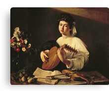 Michelangelo Merisi Da Caravaggio - The Lute Player. Man portrait: Young man, curly head, young, secular,  lute, player, musician,  music,  violin, sexy men, Roses  Canvas Print