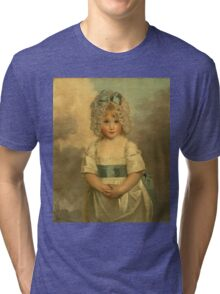 Miss Charlotte - Papendick As A Child. Child portrait: girl, curly head,  beautiful, pretty angel, child, kids, cap, dress,  bow, lovely family, childhood Tri-blend T-Shirt