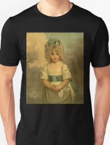 Miss Charlotte - Papendick As A Child. Child portrait: girl, curly head,  beautiful, pretty angel, child, kids, cap, dress,  bow, lovely family, childhood Unisex T-Shirt