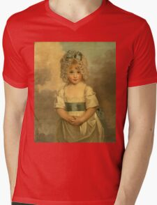 Miss Charlotte - Papendick As A Child. Child portrait: girl, curly head,  beautiful, pretty angel, child, kids, cap, dress,  bow, lovely family, childhood Mens V-Neck T-Shirt