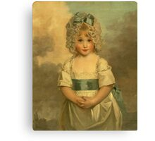 Miss Charlotte - Papendick As A Child. Child portrait: girl, curly head,  beautiful, pretty angel, child, kids, cap, dress,  bow, lovely family, childhood Canvas Print