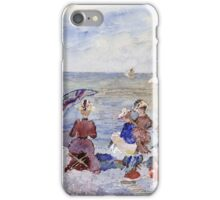 Maurice Brazil Prendergast - Figures On The Beach. Beach landscape: sea view, yachts, holiday, sailing boat, waves and beach, marine, family seascape, sun and clouds, nautical panorama, coastal travel iPhone Case/Skin