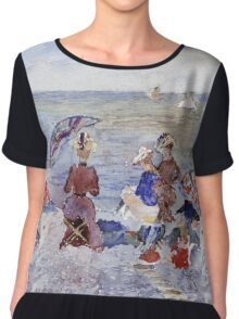 Maurice Brazil Prendergast - Figures On The Beach. Beach landscape: sea view, yachts, holiday, sailing boat, waves and beach, marine, family seascape, sun and clouds, nautical panorama, coastal travel Chiffon Top