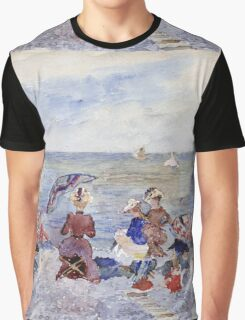 Maurice Brazil Prendergast - Figures On The Beach. Beach landscape: sea view, yachts, holiday, sailing boat, waves and beach, marine, family seascape, sun and clouds, nautical panorama, coastal travel Graphic T-Shirt
