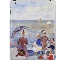 Maurice Brazil Prendergast - Figures On The Beach. Beach landscape: sea view, yachts, holiday, sailing boat, waves and beach, marine, family seascape, sun and clouds, nautical panorama, coastal travel iPad Case/Skin