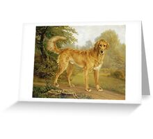 Niels Aagaard Lytzen - A Golden Retriever On A Path. Dog painting: Retriever, dogs, doggy, lucky, pets, wild life, animal, smile,  Golden, kids, nature Greeting Card