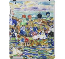 Maurice Brazil Prendergast - Idlers On The Beach. Beach landscape: sea view, yachts, holiday, sailing boat, waves and beach, marine, family seascape, sun and clouds, nautical panorama, coastal travel iPad Case/Skin