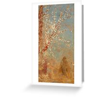Odilon Redon - Figure Under A Blossoming Tree 1904. Garden landscape: garden view, trees and flowers, blossom, woman, dream, floral flora, wonderful flowers, think, meditation, relaxation, rest Greeting Card