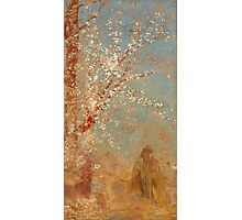 Odilon Redon - Figure Under A Blossoming Tree 1904. Garden landscape: garden view, trees and flowers, blossom, woman, dream, floral flora, wonderful flowers, think, meditation, relaxation, rest Photographic Print