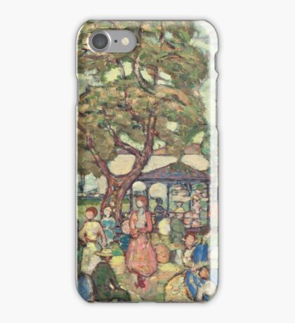 Maurice Brazil Prendergast - Landscape With Figures No. 2. People portrait: party, woman and man, people, family, female and male, peasants, crowd, romance, women and men, city, home society iPhone Case/Skin