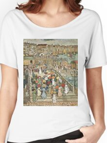 Maurice Brazil Prendergast - Ponte Della Paglia. Street landscape: city view, streets, building, houses, prospects, cityscape, architecture, roads, travel landmarks, panorama garden, buildings Women's Relaxed Fit T-Shirt
