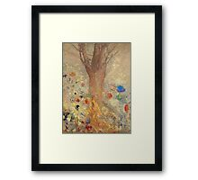 Odilon Redon - The Buddha 1904. Garden landscape: garden, trees and flowers, blossom, nature, Buddha , buddhism, meditating, think, meditation, relaxation, rest Framed Print