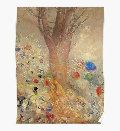 Odilon Redon - The Buddha 1904. Garden landscape: garden, trees and flowers, blossom, nature, Buddha , buddhism, meditating, think, meditation, relaxation, rest Poster