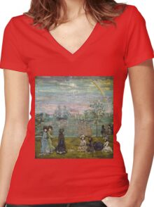 Maurice Brazil Prendergast - Promenade With Parasols. Beach landscape: sea view, yachts, holiday, Promenade , coast seaside, waves and beach, marine, sun clouds, nautical panorama, coastal travel Women's Fitted V-Neck T-Shirt