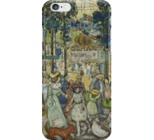 Maurice Brazil Prendergast - The Amusement Park. People portrait: party, woman and man, people, family, female and male, peasants, crowd, romance, women and men, city, home society iPhone Case/Skin