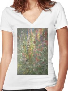 Otto Stark - Hollyhocks. Still life with flowers: still life with flowers, flowers, blossom, nature, botanical, floral flora, wonderful flower, plants, cute plant for kitchen interior, garden, vase Women's Fitted V-Neck T-Shirt