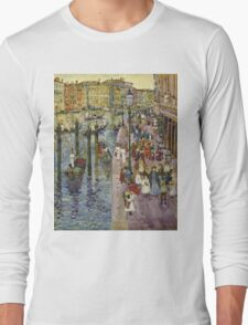 Maurice Brazil Prendergast - The Grand Canal, Venice. Urban landscape: city view, streets,  Venice, house, trees, cityscape, architecture, construction, travel landmarks, panorama garden, buildings Long Sleeve T-Shirt