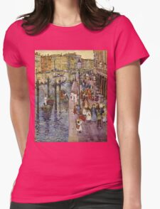 Maurice Brazil Prendergast - The Grand Canal, Venice. Urban landscape: city view, streets,  Venice, house, trees, cityscape, architecture, construction, travel landmarks, panorama garden, buildings Womens Fitted T-Shirt