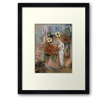 Pandora - Pandora. Garden landscape: garden view, trees and flowers, blossom, nature, woman, Mystery, wonderful flowers, dream, think, garden, flower Framed Print