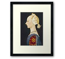 Paolo Uccello - A Young Lady Of Fashion. Woman portrait: sensual woman,  brocade, costume, courtier, beautiful dress,  lady, madame,  Mirror, love, sexy lady, Accessories Framed Print
